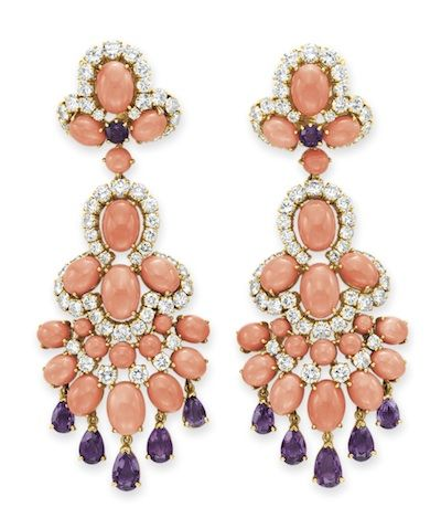 """~A PAIR OF CORAL, AMETHYST AND DIAMOND """"PANKA"""" EAR PENDANTS, BY VAN CLEEF & ARPELS Each designed as a cabochon coral, circular-cut diamond and amethyst trefoil, suspending an articulated cabochon coral and circular-cut diamond cascade with pear-shaped amethyst fringe, mounted in 18k gold, circa 1971, with French assay marks and maker's marks Signed Van Cleef & Arpels, $842,500.00"""
