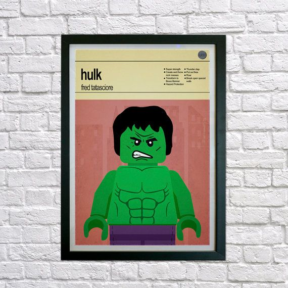 This is a stylish poster print of the Lego Marvel Super Heroes Hulk, fit to grace any man cave or children's bedroom. Hand drawn with a graphics tablet and pen this print is styled with typography and features the actor who voiced Hulk in the Lego Marvel Super Heroes game and the Lego Super Hero abilities.