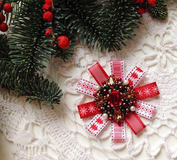 Order brooch, brooch with rhinestones, brooch ribbon, embroidery, Swarovski