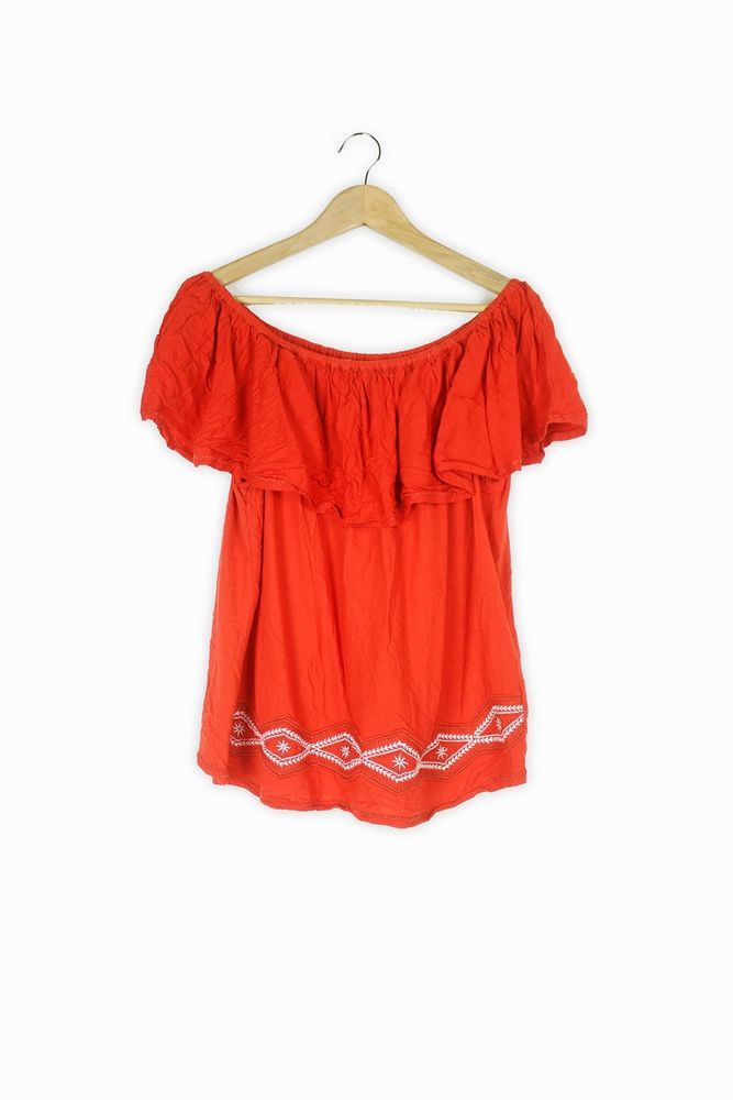 0268b45996afb George orange red embroidered boho summer off shoulder bardot top Size 16   fashion  clothing