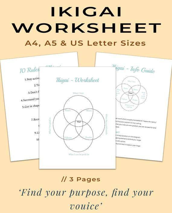 Find your Ikigai Worksheet | Find your Career | Career Test | Find ...