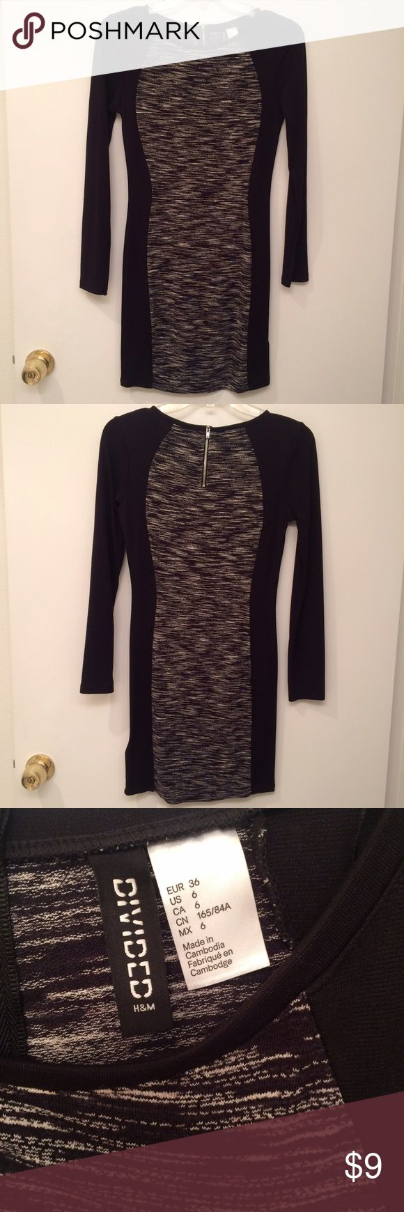 H&M Divided tight black dress size 6 Wore this dress once. Super cute for date night or a night out with the gals! Divided Dresses Long Sleeve