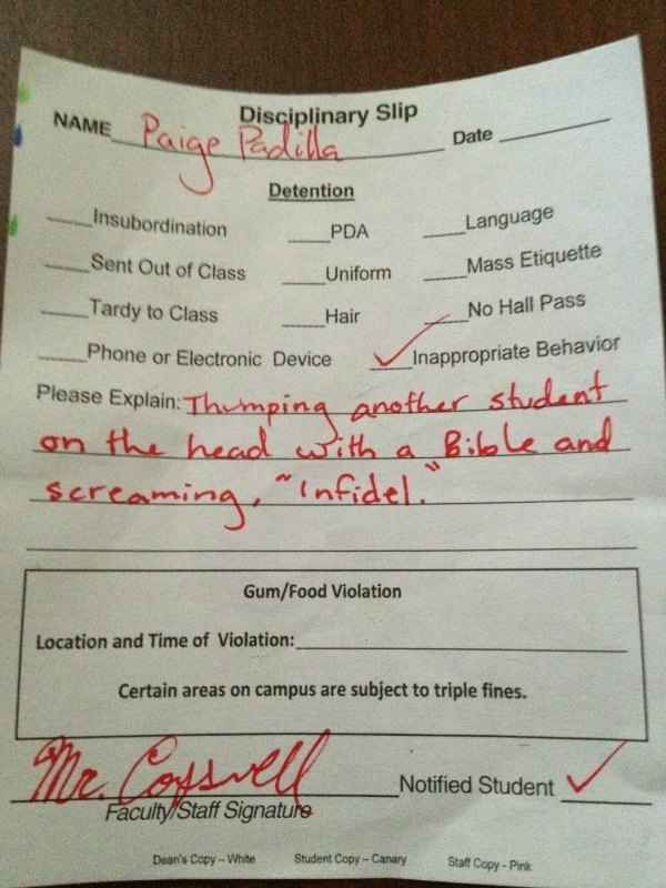 For literally bible-thumping. | The 28 Best Reasons For Getting Detention