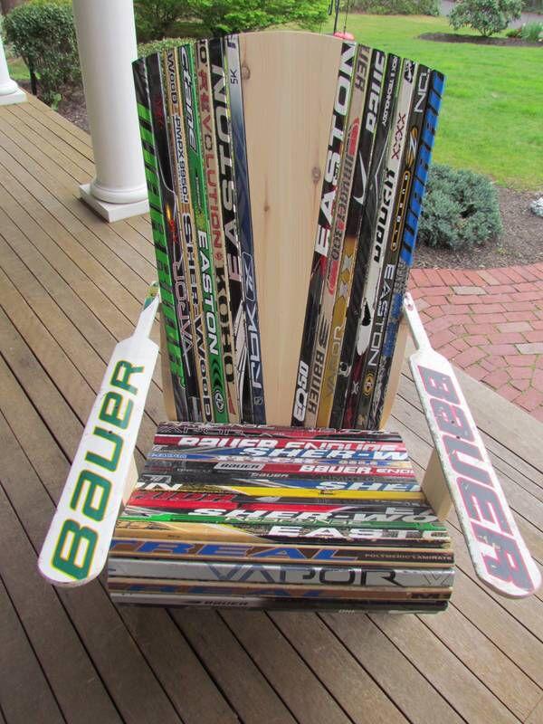 Hockey Stick Adirondack Chair Made By My Talented Cousin Matt. Hockey SticksAdirondack  ChairsHockey StuffCousins