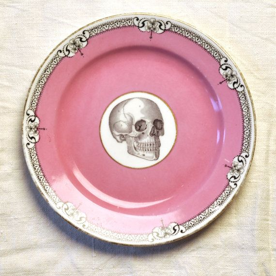 Skull with pink and black  Vintage China Tea Plate for wall art decorative display via Etsy