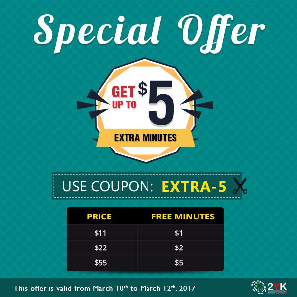 Special #CallingOffer By 2YK - Now Get Upto $5 Extra #InternationalCalling Minutes - http://www.2yk.com/emails/Happy-weekend-10-march-2017.html