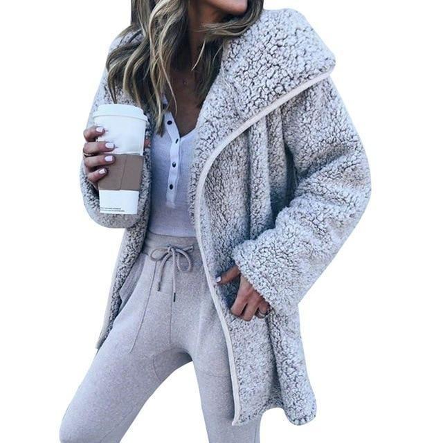 Autumn Casual Faux Fur Bear Coat Jacket Women Fashion Open Stitch Hoodedliilgal 3