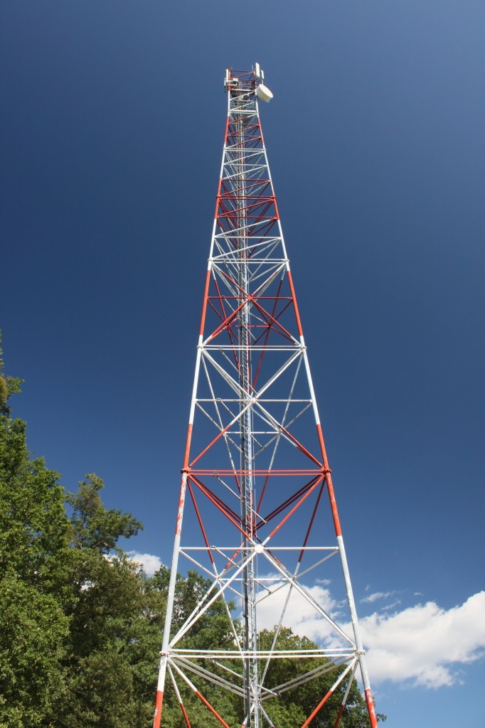 Cell Site, GSM Cell Tower – Dark blue sky and fluffy Clouds - Public Domain Photos, Free Images for Commercial Use