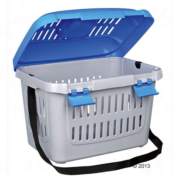 Animalerie  Cage de transport Capri pour chien chat et rongeur  L 44 x l 33 x H 32 cm (gris clair/bleu)