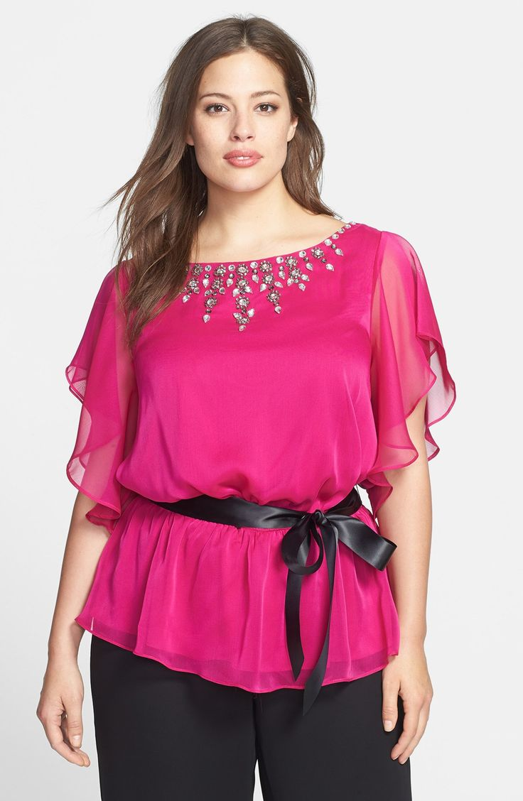 Adrianna Papell Jeweled Chiffon Blouse (Plus Size) | Nordstrom