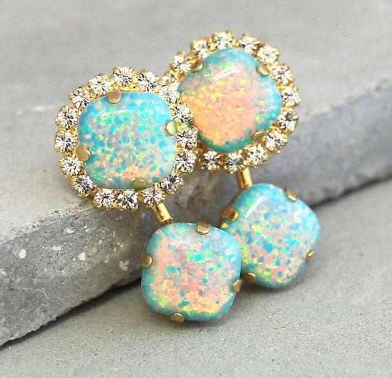 Mint Stud Earrings Opal Stud EarringsOpal Ear jacket by iloniti #opalsaustralia