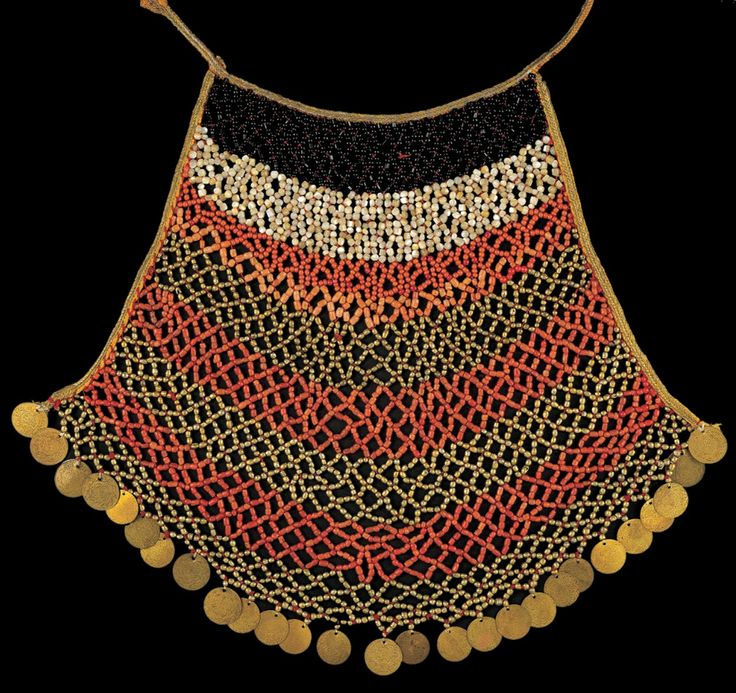 Greece | Chest ornament from the Salamis Island; coral beads, mother of pearl, black glass and silver gilt | 19th century || Similar jewellery was often part of a bride's dress in Attica.