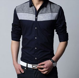 Men's Long Sleeve Shirt with Color Block Panel