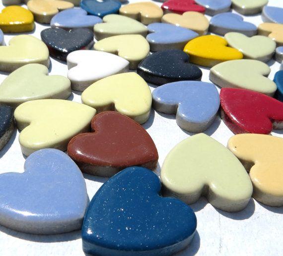 Mattonelle di mosaico cuore - 50 grande ceramica 1 pollice piastrelle in colori assortiti per uso in lavori di bricolage