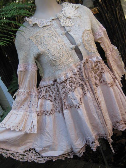 tea coat made from vintage linens: Clothing, Lace Teas, Kitty Linens, Vintage Kitty, Vintage Linens, Teas Coats, Upcycled Vintage, Linens Lace, Gardens Parties