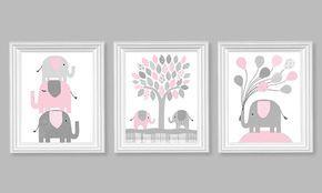 Elefante vivero Decor, rosa pálido y gris, decoración de habitación de la niña, globos, Baby Girl vivero arte, arte de la lona de elefante, vivero Decor de lona: Se trata de un conjunto de las tres láminas que se muestra arriba. El precio incluye todas las tres impresiones. Impresiones recién se imprimen a pedido en papel de brillo de grado comercial 69 libras utilizando tintas archival premium para longevidad y colores vibrantes. Impresiones durarán toda la vida en un marco de vidrio…