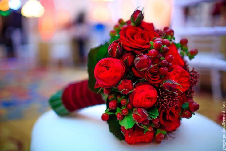 """Купить Букет невесты из живых цветов """"Марсала"""" - свадьба в красном ..."""