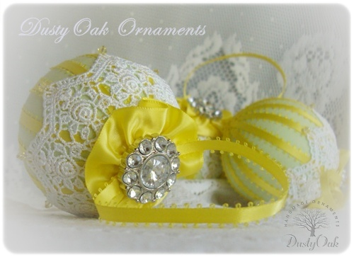 A Custom Wedding Ornament Made With Yellow And Sage