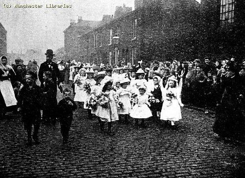 """From Manchester and Salford Wesleyan Mission Reports, """"Our Childrens Procession in grimy Ancoats"""", Manchester, 1898 Ref no: m69144"""