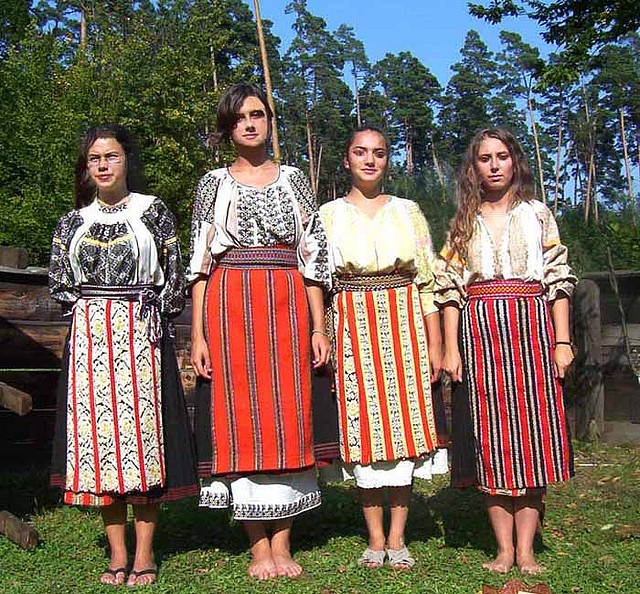 Traditional Romanian Folk Costumes from Bran, Brasov, Transylvania, Romania.