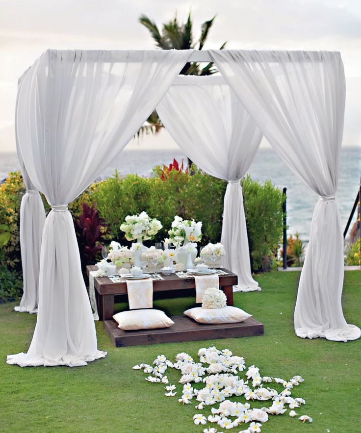 Outdoor Wedding Arches For Weddings: #two Legged Wedding Arch Draped As This Completely, Tied