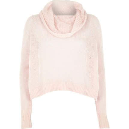 Pink mohair cowl neck knitted jumper €40.00