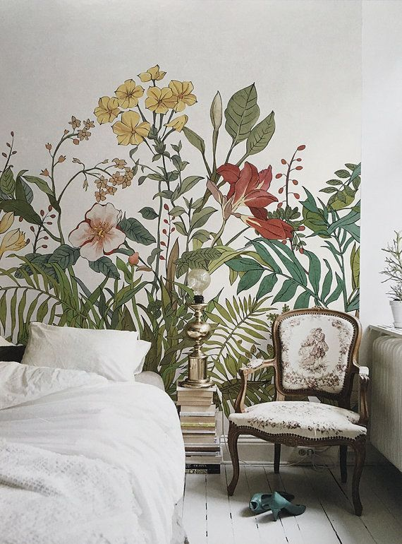 Large scale botanical flowers and leaves wallpaper mural. No need for a headboard or art with this statement accent wall mural - Unique Bedroom Ideas & Decor -  Etsy listing at https://www.etsy.com/listing/278167422/blooming-flowers-and-leaves-wallpaper