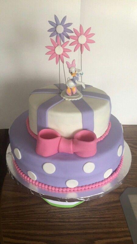 Daisy duck themed cake, fondant 2 tiered