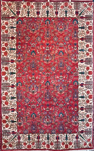 One of a Kind Vegetable dye Tabriz Design Rug