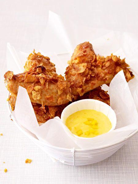 Crispy Chicken Wings mit Curry-Mango-Mayonnaise
