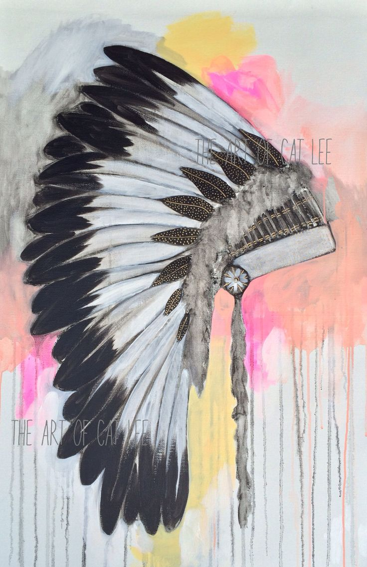 This unique beauty was originally painted on linen in oils and acrylic with 18KT gold flecks.  It was based on an authentic Native American Indian Headdress.  The style is bohemian with a contemporary edge; pops of flouro and gold flecks.  (You should do a close up of the fluffy feathers and the gold details!)  Printed in high quality 'green' ink onto A3 sized recycled card.  The actual print is smaller than the card; with a white border surrounding the print. Each piece is signed…