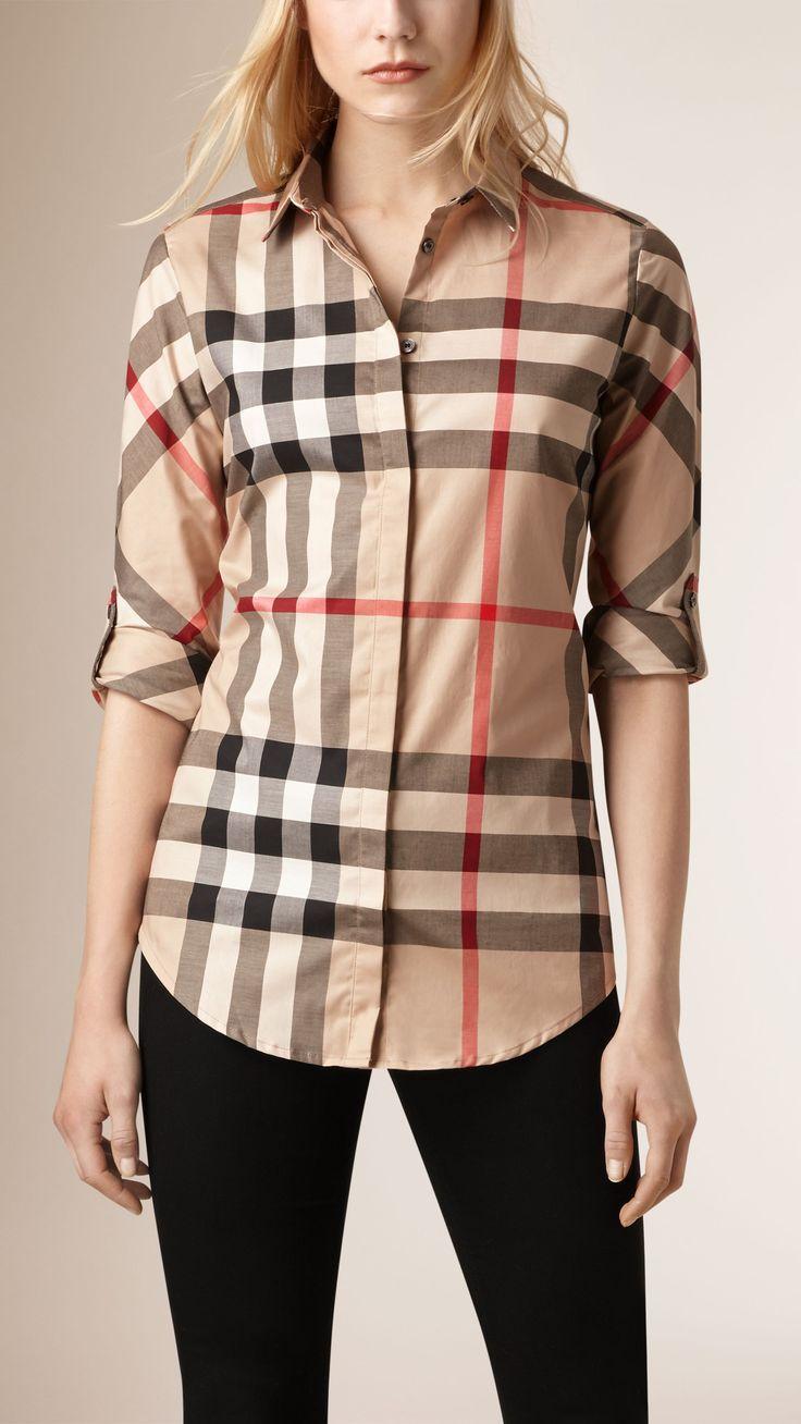 Stretch-Cotton Check Shirt New Classic Check   Burberry