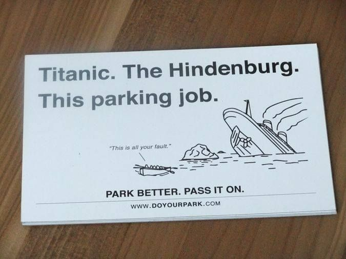 Does bad parking annoy you as much as it does us? We love this sign that people have been putting on cars who have parked really badly.