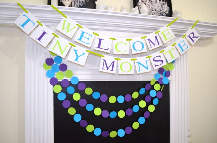 Welcome Tiny Monster baby shower banner, Monster Inc inspired lime green, purple and blue Baby shower banner, Monster Inc theme shower by DCBannerDesigns on Etsy https://www.etsy.com/listing/220325373/welcome-tiny-monster-baby-shower-banner