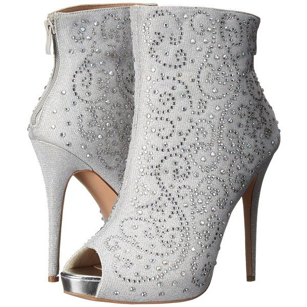 Lauren Lorraine Emma (Silver) Women's Boots ($80) ❤ liked on Polyvore featuring shoes, boots, ankle booties, heels, ankle boots, silver, peep-toe booties, high heel stilettos, peep-toe ankle booties and platform heel booties