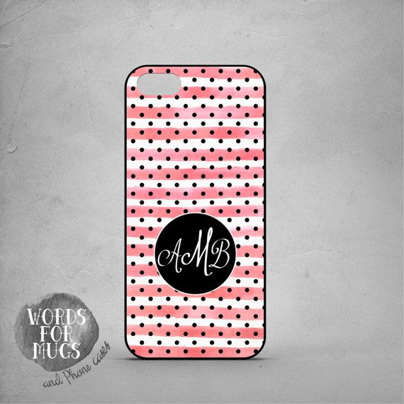 Personalized iPhone 6 case pink and white stripes and black little polka dots by DeWadaSTORE