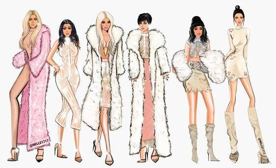 Irish illustrator Ellen McCann's work of the Kardashians at the YEEZY fashion show. Picture: Nelle Illustrations