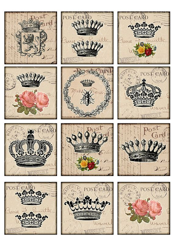 crowns vintage printable tags digital collage sheet large square 2 5 inch images ephemera. Black Bedroom Furniture Sets. Home Design Ideas