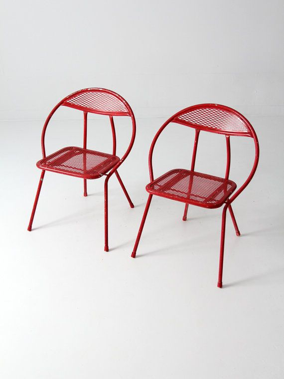 mid century metal folding chairs / Salterni-style patio chairs on Etsy, $425.00