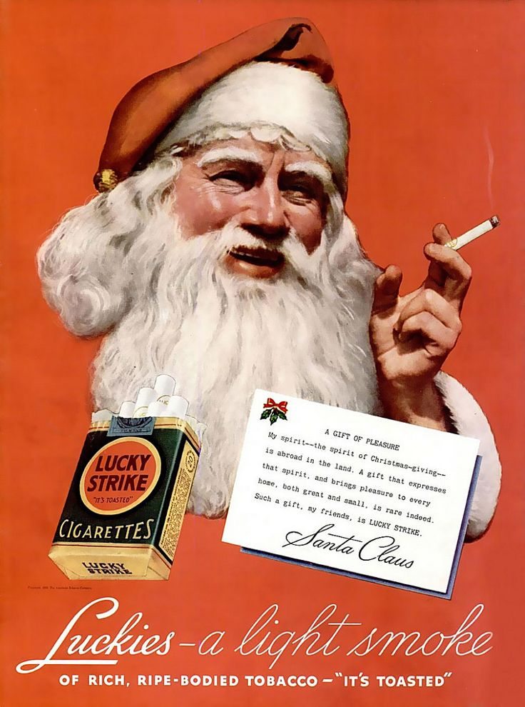 Maybe not the best Christmas gift. Vintage cigarette Chrismas ad for Lucky Strike.
