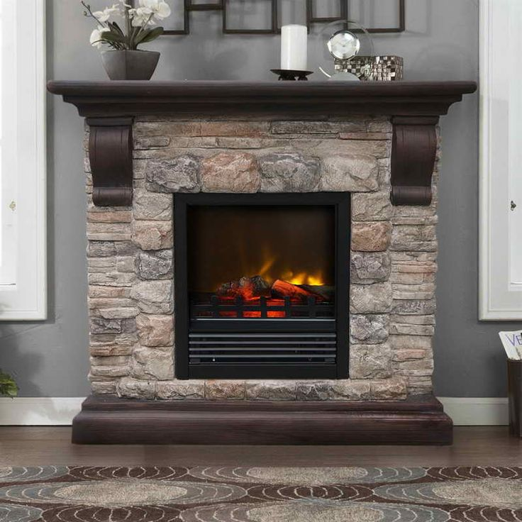 Portable Fireplaces With Grey Walls Master Sitting Area