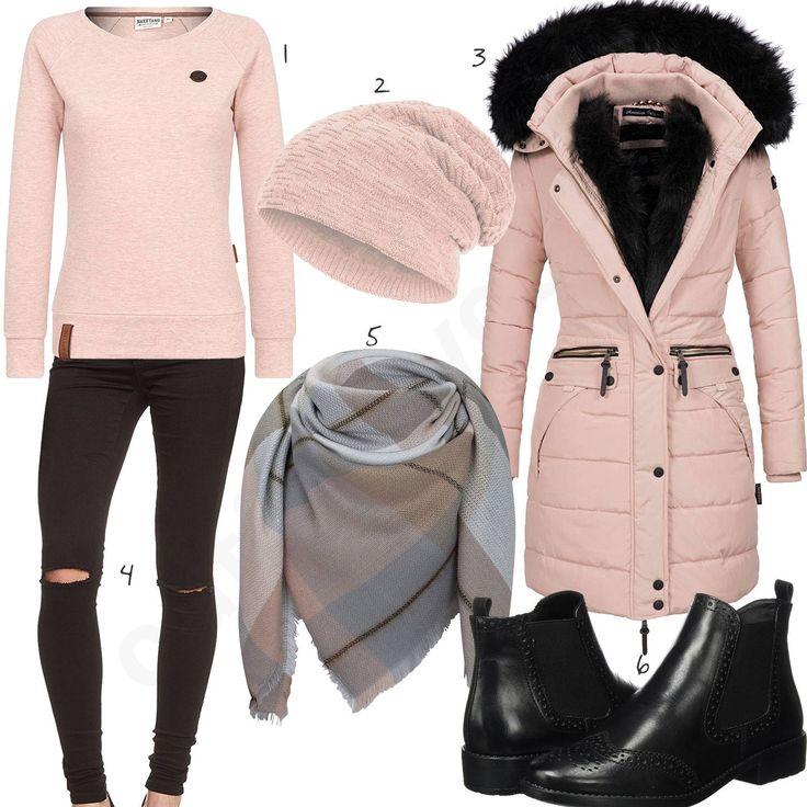 Rosafarbenes Outfit mit Naketano Pullover, gefütterter Compagno Mütze, Navahoo Damen-Wintermantel, kariertem Schal, schwarzer Only Jeans und Chelsea Boots.