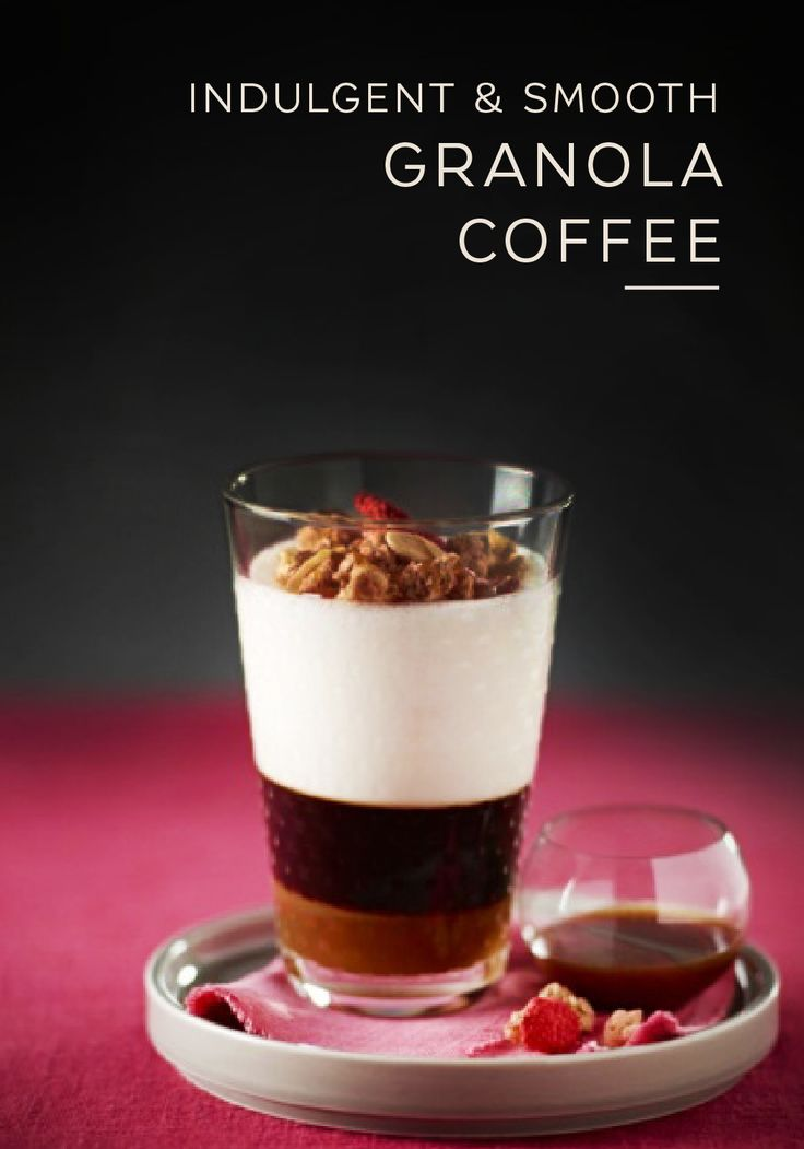 Ditch the parfait and top your morning cup of coffee with granola instead. This easy coffee recipe from Nespresso uses crunchy muesli to draw out the smooth flavor of Capriccio Grand Cru. Top with a thick milk foam, drizzled caramel, and fresh fruit to create an unforgettable coffee drinking experience.
