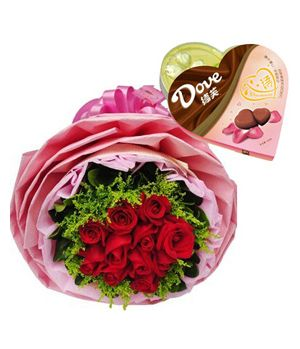 Lover's Favorites. red Roses bouquet goes with a box heart-shaped Dove Chocolate.