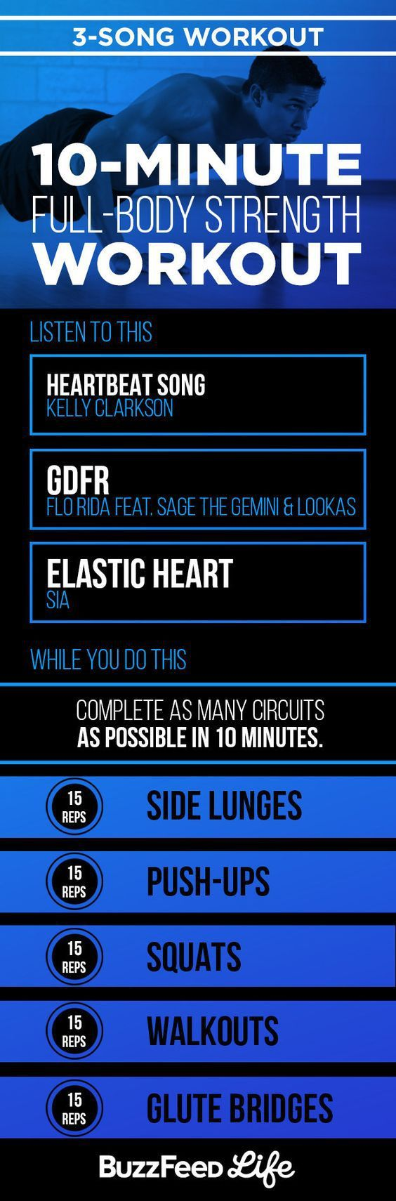 10 minute/3 song workout shows you what songs to exercise to and feel the burn.