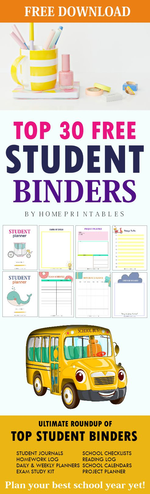 Discover the best free student binder printables available online. Yes, they're all unbelievably free! #schoolbinder #school #planner #printables #homeprintables
