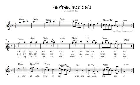 Fikrimin Ince Gulu Sheet Music Guitar Tabs Music