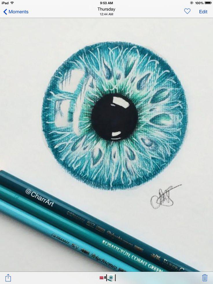 Eye art, sketch in teal blue