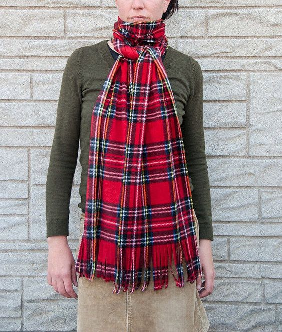 Red Tartan Plaid Scarf Outdoor Scarf Oversized Scarf Mens