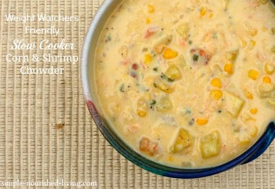 Slow Cooker Corn and Shrimp Chowder   Weight Watchers Friendly Recipes   7 Points Plus #weightwatchers #crockpot